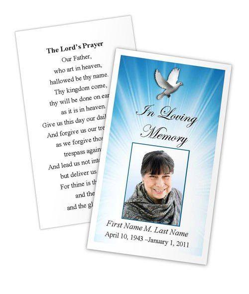 Celestial Dove Prayer Card Template | Funeral Card