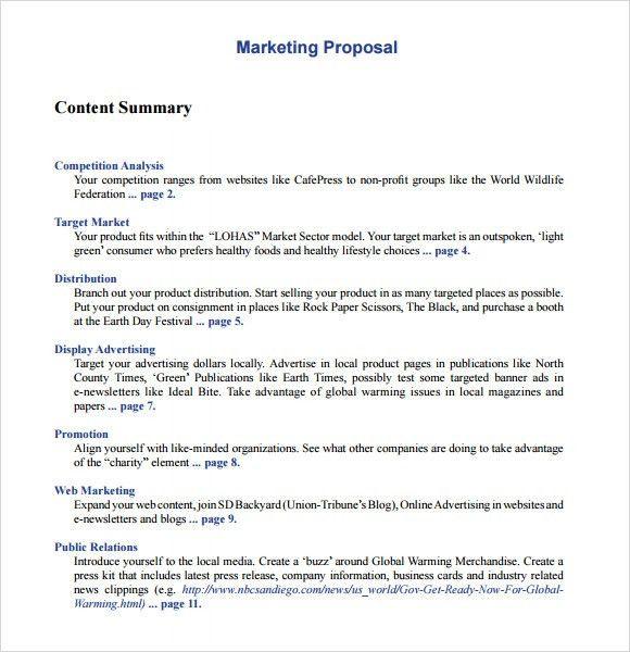 10+ Marketing Proposal Templates – Free Sample, Example, Format