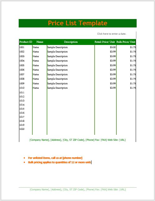 Free Price List Template – Microsoft Word Templates