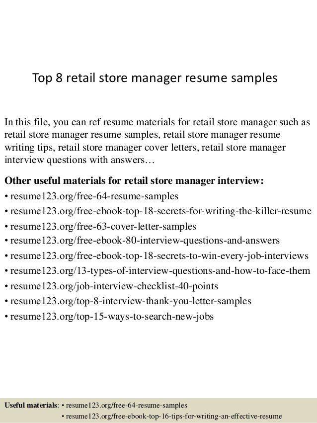 Retail Store Resume Sample] Retail Store Manager Resume Sample ...