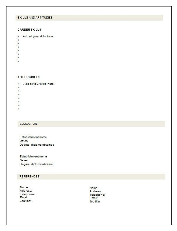 Empty Resume | free excel templates