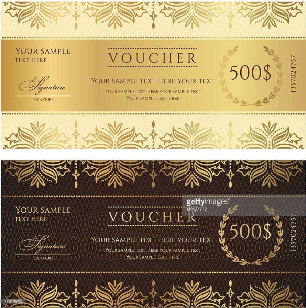 Gold Ticket Voucher Gift Certificate Coupon Template With Floral ...