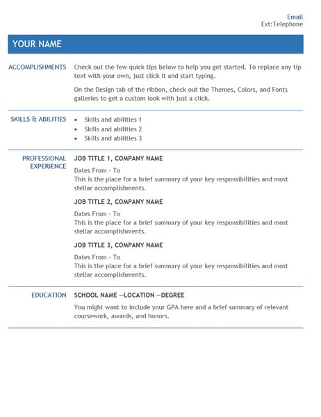 Resume for internal company transfer - Office Templates