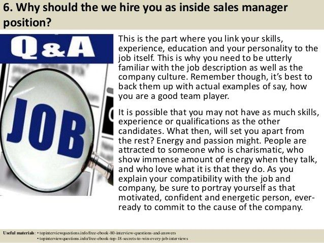 Top 10 inside sales manager interview questions and answers