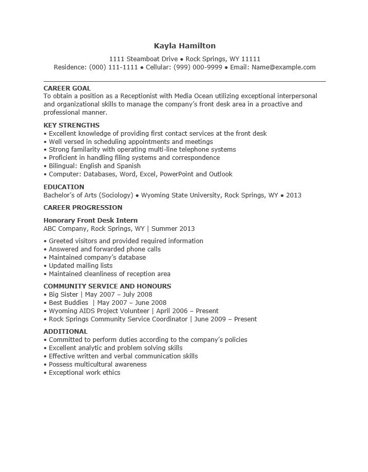Free Entry Level Receptionist Resume Template | Sample | MS Word