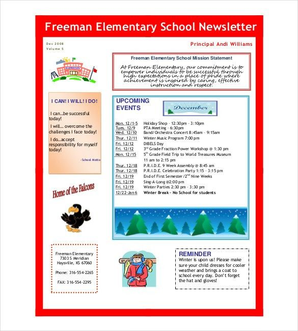 School Newsletter Template - 9+ Word, PDF, PSD Documents Download ...