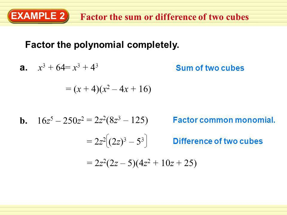 EXAMPLE 1 Find a common monomial factor Factor the polynomial ...