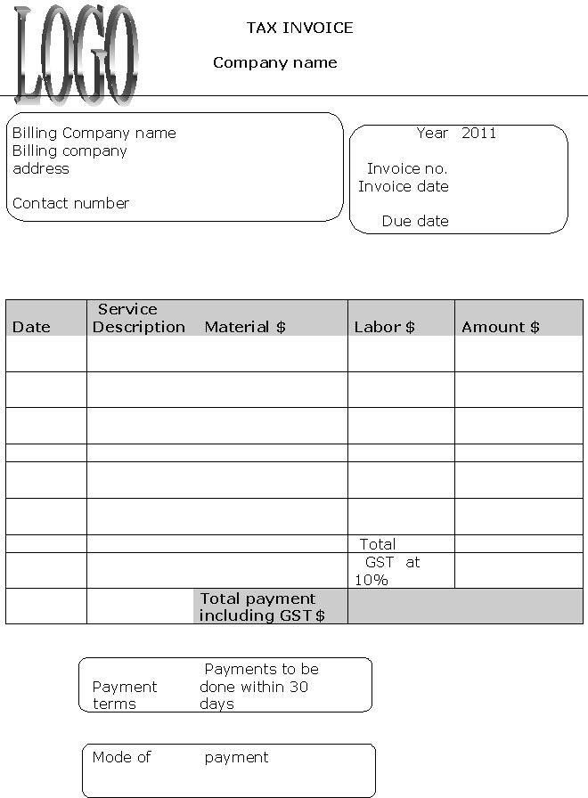 2011 Tax Invoice Template : Invoice Templates
