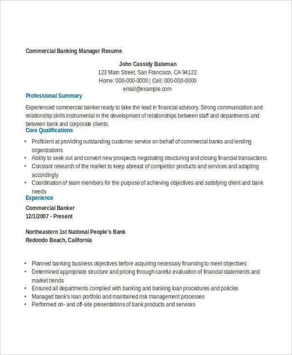 commercial banking resume - Romeo.landinez.co