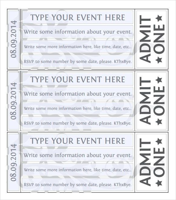 Impressive Event Admission Ticket Template Sample with Information ...
