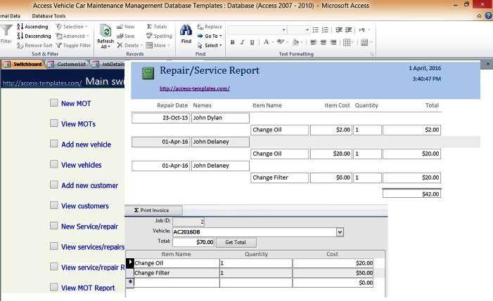 Car And Vehicle Maintenance Access Database Management Repair ...