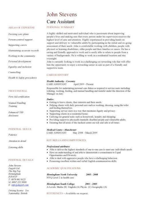 Care assistant CV template, job description, CV example, resume ...