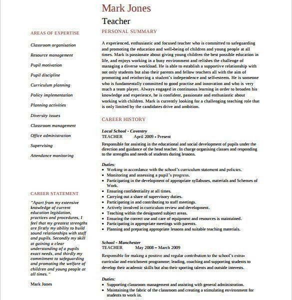 Free Teaching Resume Templates. free substitute teacher resume ...