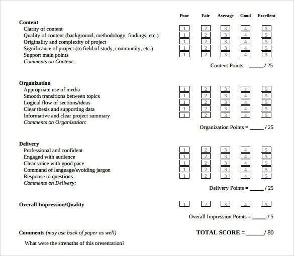 Presentation Evaluation Forms U2013 8+ Free Samples, Examples U0026 Formats