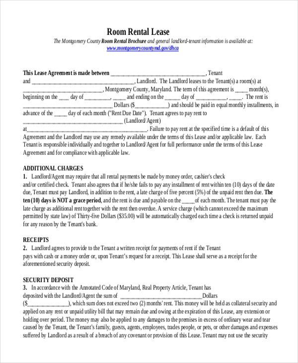 Room Lease Agreement. Room Rental Agreement Letter ...