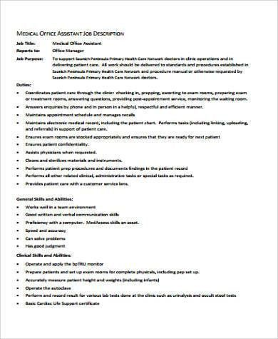 Medical Office Manager Job Description Sample - 6+ Examples in ...