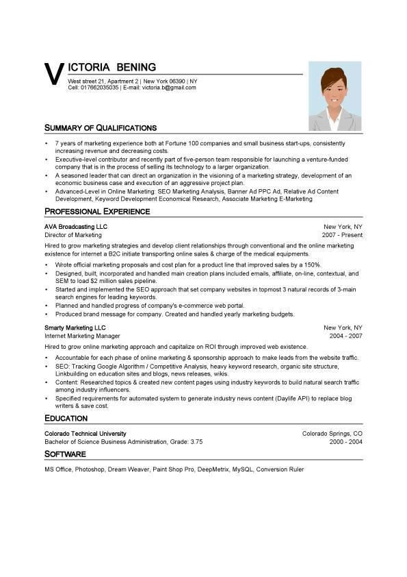Example Of A Resume Format. Word Resume Sample Resume Job Resume ...