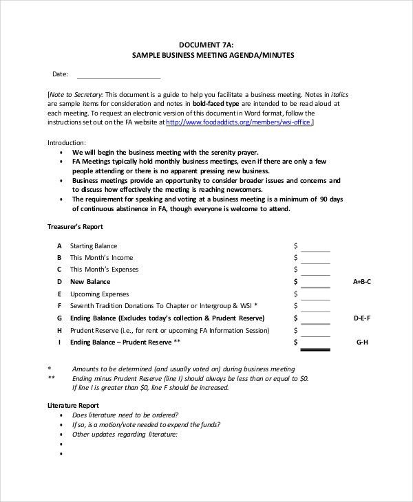 Business Meeting Agenda. Annual Business Meeting Agenda Template ...