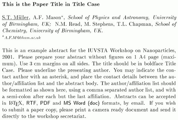 The IUVSTA Workshop on Nanoparticles