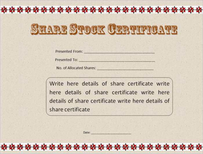 Stock Certificate Template - Free Word, Form, PDF, Excel, PDF ...