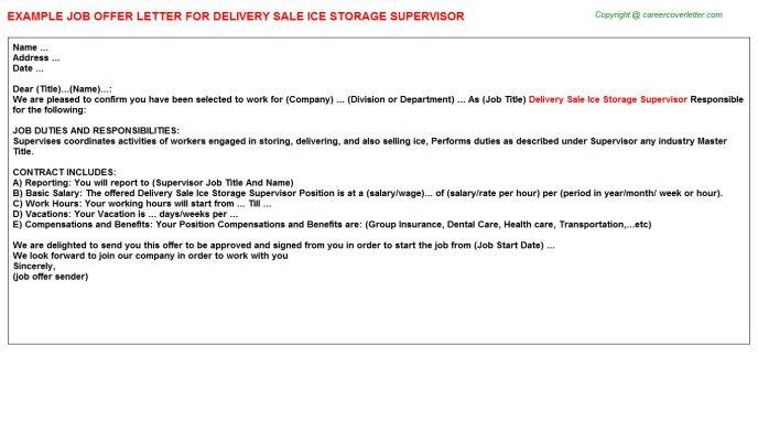 Delivery Sale Ice Storage Supervisor Offer Letter