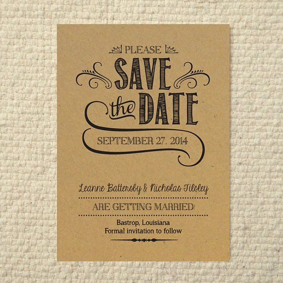 DIY Kraft Paper Wedding Save-the-Date - Handlettered Rustic Love ...