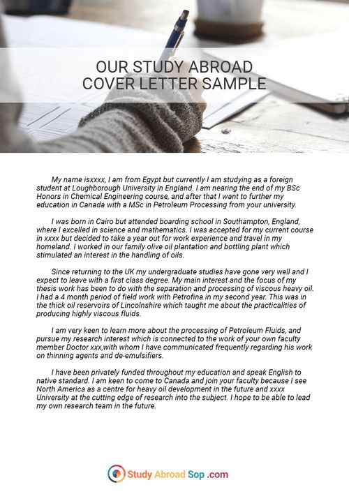 Writing can be hard, but this cover letter for study abroad sample ...
