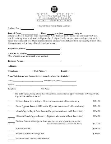 Room Rental Contract. Printable Sample Simple Room Rental ...