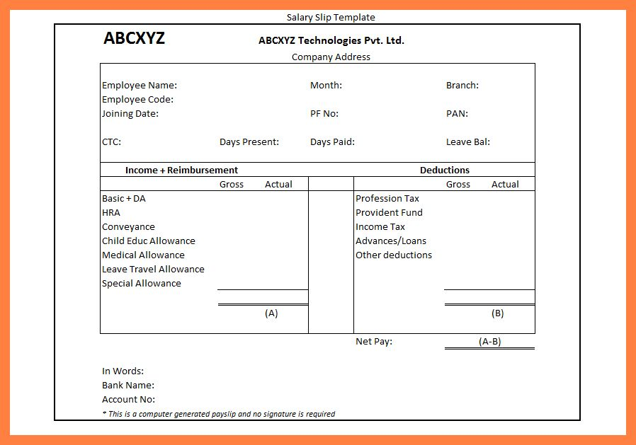6+ salary advance format in excel | Sales Slip Template
