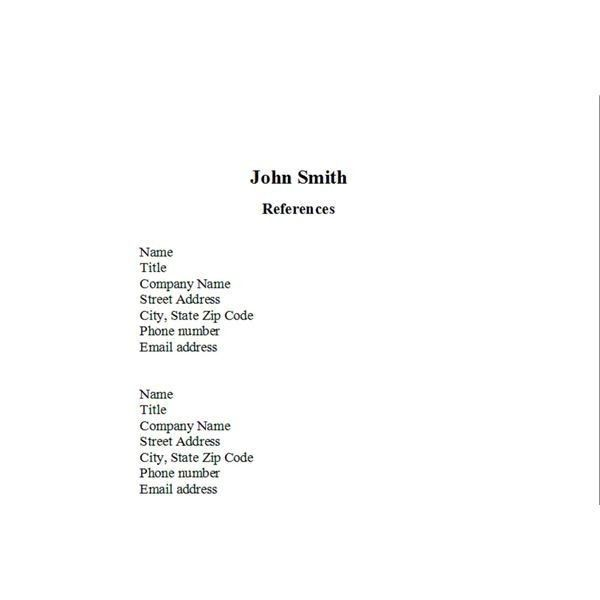 resume reference list template reference list for resume