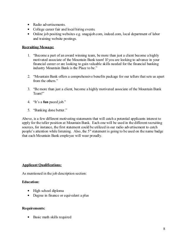 Complete Mountain Bank HR Plan