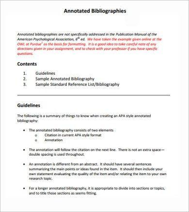 Apa annotated bibliography sample