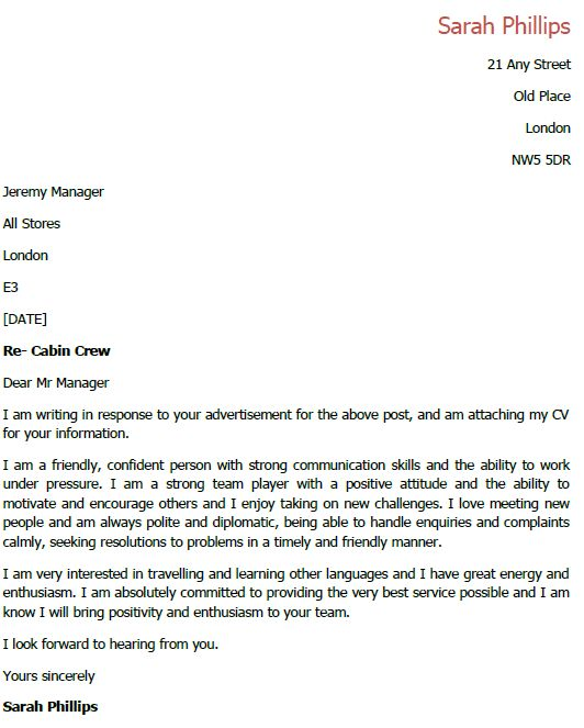 cabin crew cover letter sample
