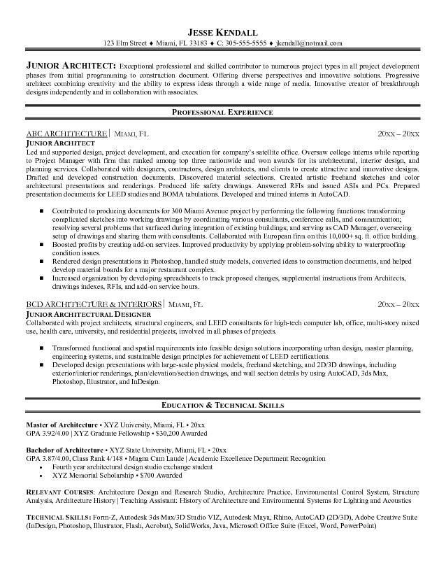 Free Junior Architect Resume Example