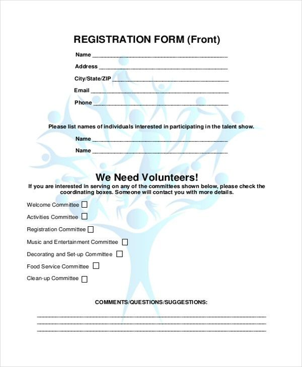 Sample Family Reunion Registration Form - 8+ Free Documents in ...