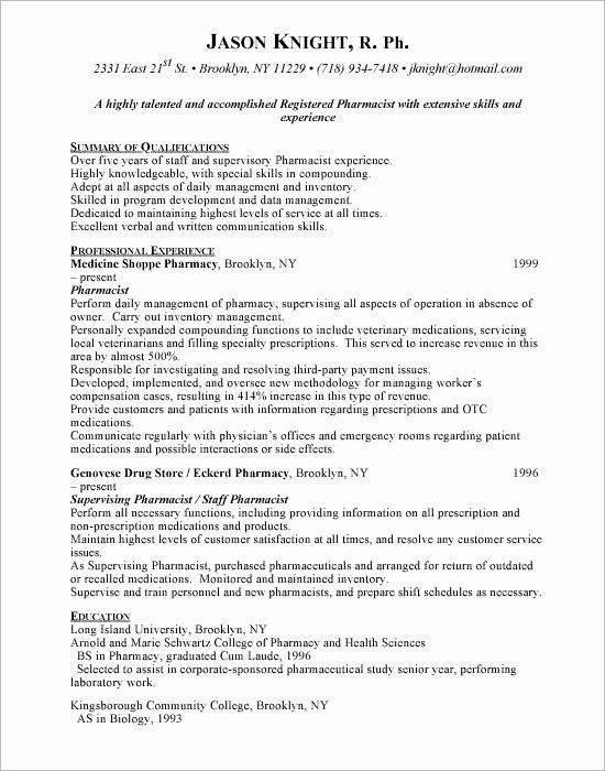 Hospital Pharmacist Resume Sample - http://www.resumecareer.info ...