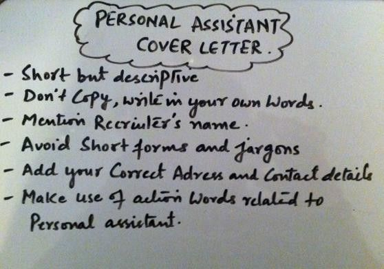 Writing A Personal Assistant Cover Letter