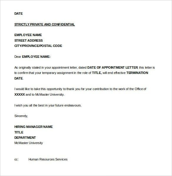 free household employee termination letter template example ...
