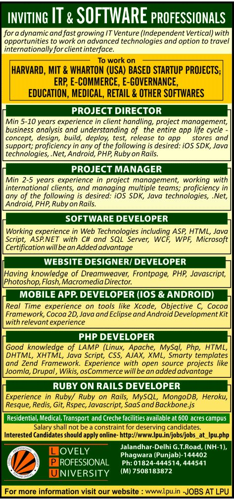 Job - Mobile App.Developer - IOS and Android - Punjab - IT ...
