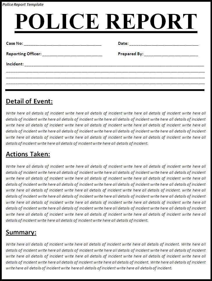 Mock Police Report, free police report templates examples creative ...