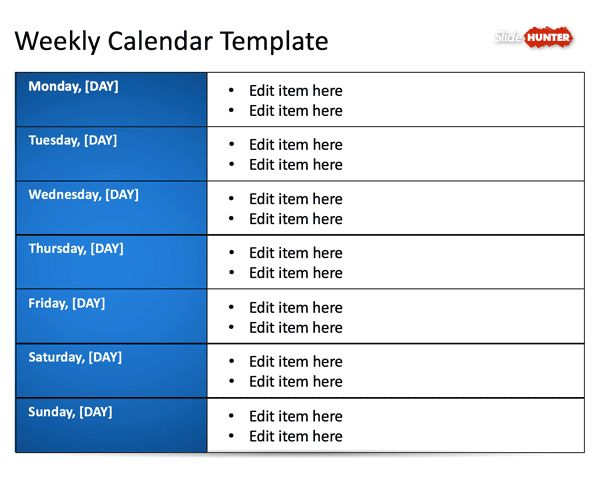 Free Weekly Blank Calendar Template for PowerPoint - Free ...