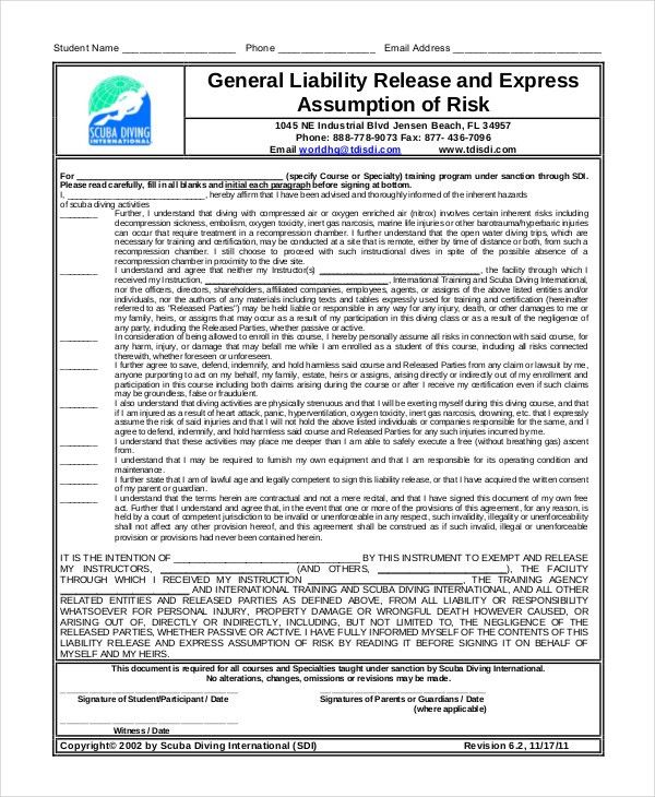 Liability Release Template [Nfgaccountability.com ]