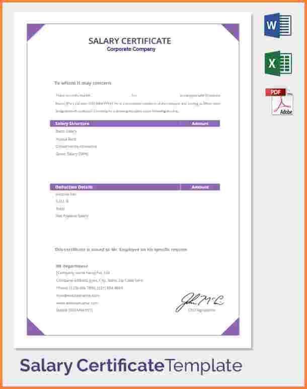 7+ sample of salary certificate format | Salary Bill Format