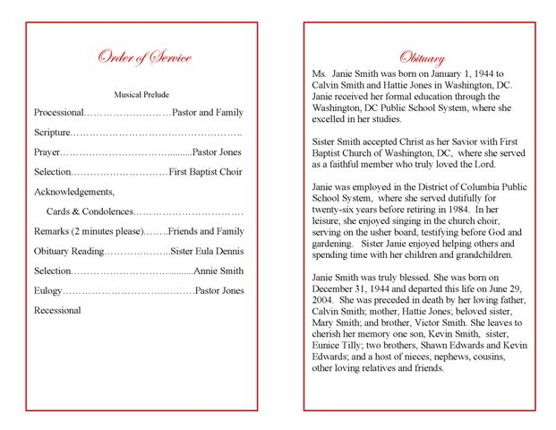 Funeral Program Examples | Example Program Booklet