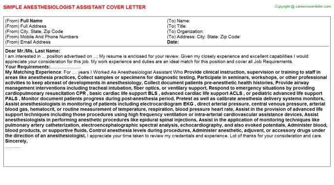 Anesthesiologist Assistant Cover Letter