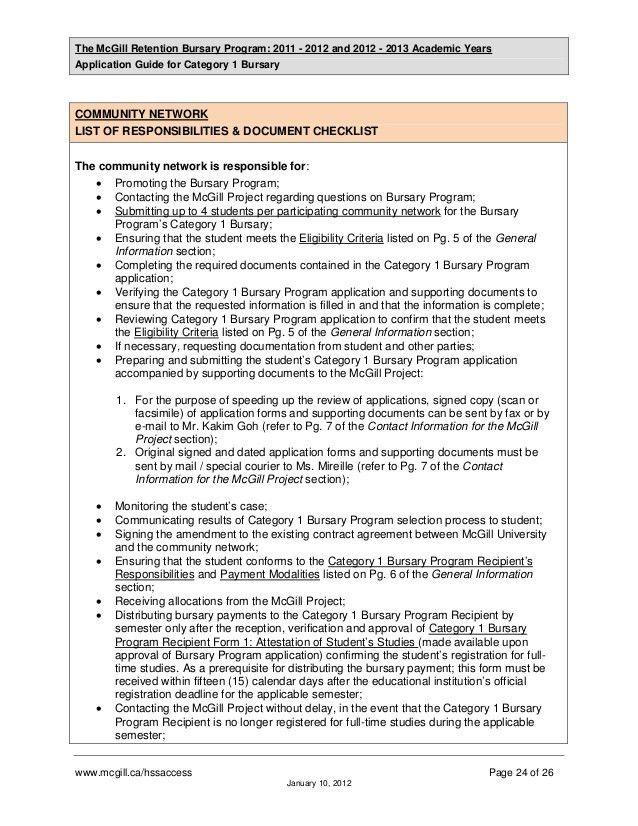 McGill Retention Bursary Program 2011 - 13_Application Guide