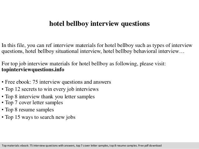 Hotel bellboy interview questions