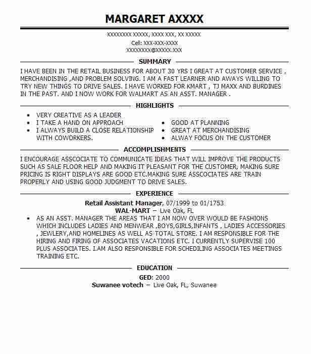 Best Retail Assistant Manager Resume Example | LiveCareer