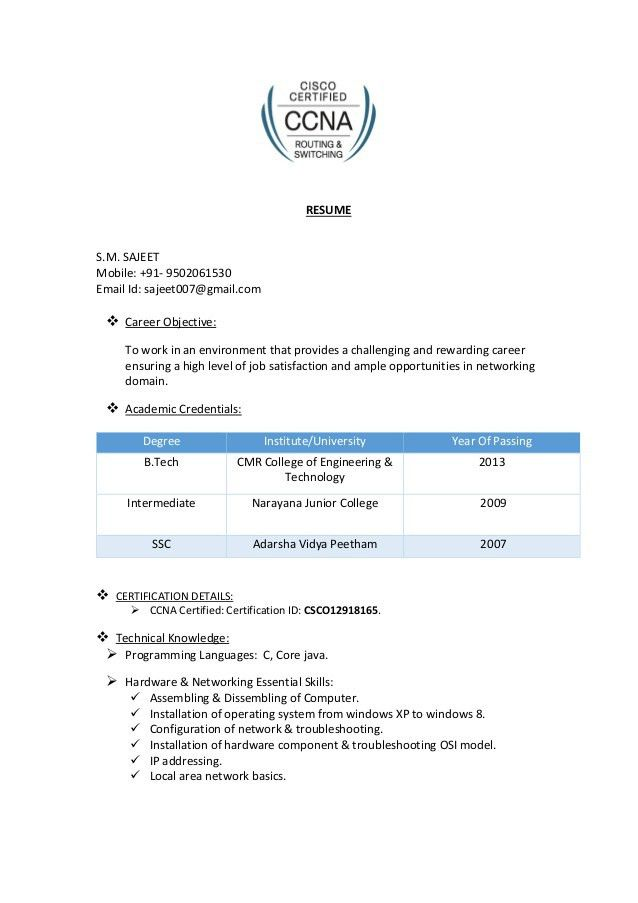 Download Ccna Resume | haadyaooverbayresort.com