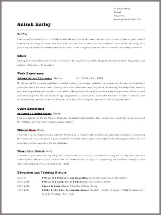 Perfect cv template uk